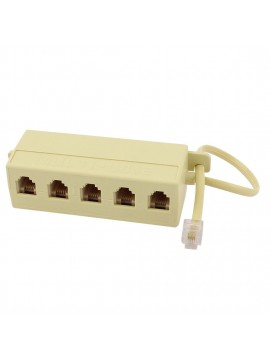 Telephone Line Splitter - 5 Way Extension Cable Line Adapter Splitter