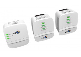 BT Mini Wi-Fi 600 Home Hotspot Powerline Adapter Kit - Pack of 3