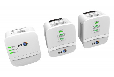BT Mini Wireless Booster - Wi-Fi 600 Home Hotspot Powerline Adapter Kit - Pack of 3