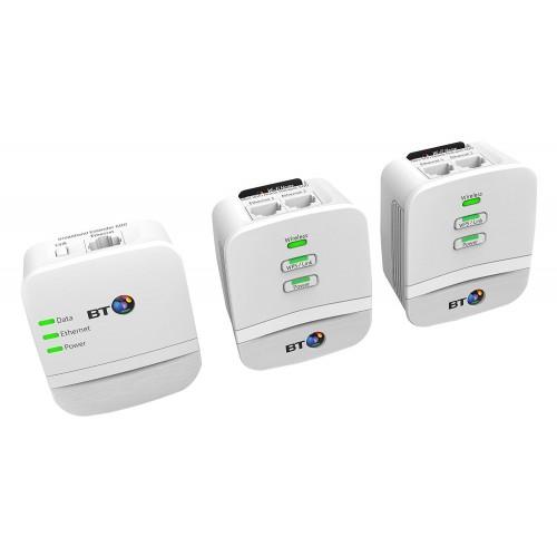 BT Mini Wireless Booster - Wi-Fi 600 Home Hotspot Powerline Adapter Kit -  Pack of 3