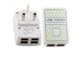4 Ports USB Wall Charger Mains Power UK Plug Adapter For iPad iPhone Samsung HTC