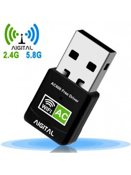 Aigital WiFi Adapter 600Mbps Mini USB Wireless Adapter Network WiFi Dongle High Speed Dual Band
